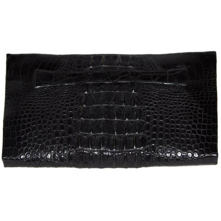 Exceptional wild black crocodile clutch c.1940 1