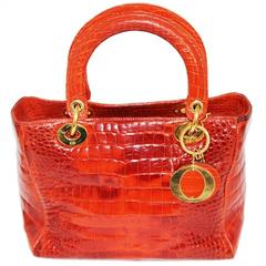 Exceptional Lady Dior Orange crocodile Handbag