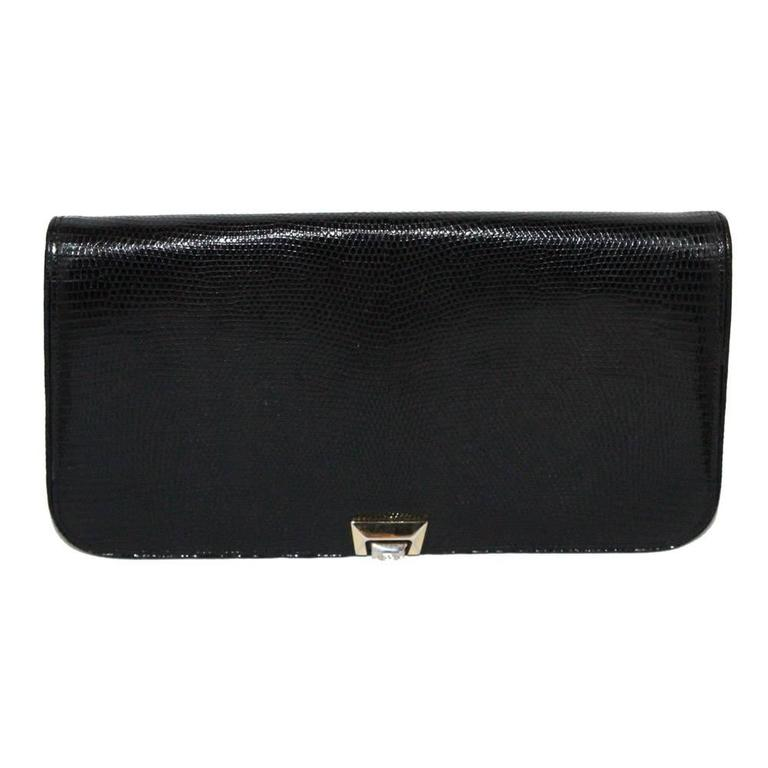 Exceptional large Gucci black lizard clutch 80s