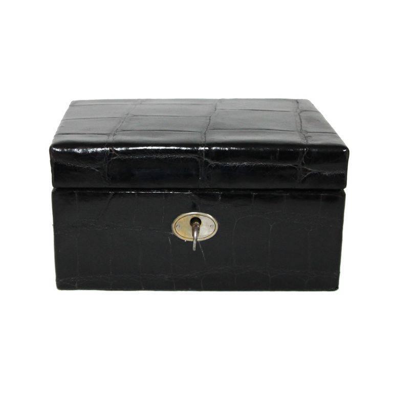 Retro black crocodile jewellery box