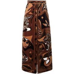 Gorgeous brown Emilio Pucci flower 60s skirt