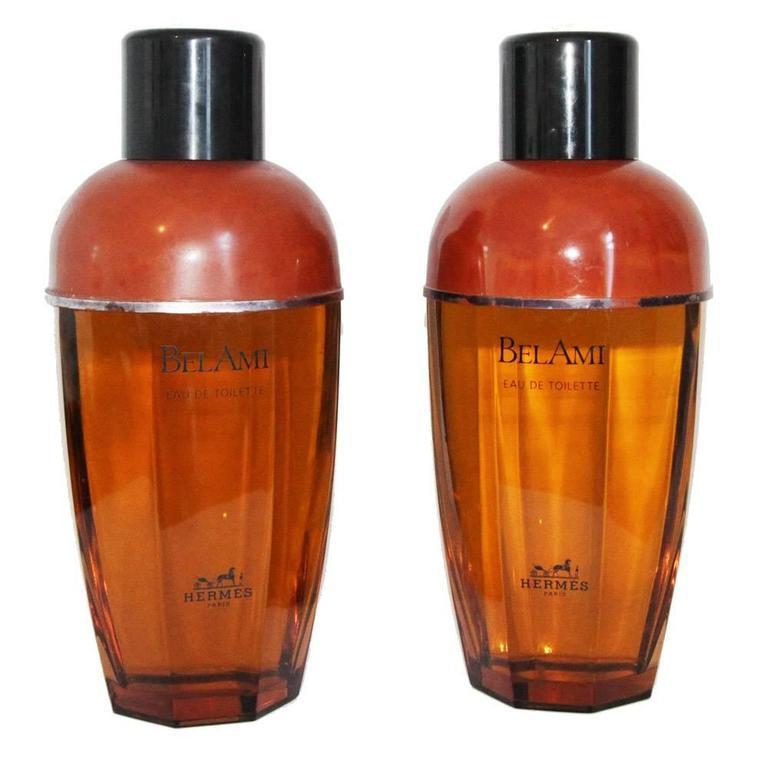 Exceptional pair of huge Hermes Bel Ami perfume bottles 1986