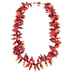 Coppola e Toppo exceptional long crystal leafs necklace c.1965