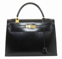 Hermes Kelly black box Handbag Shoulder strap 32 cm