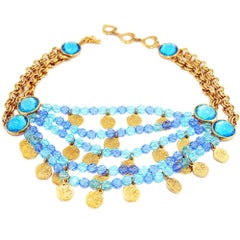 Yves Saint Laurent Faceted blue crystal and charms necklace, 1980s