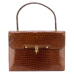 Hermes Palonnier crocodile and gold color hardware Bag, 1960s