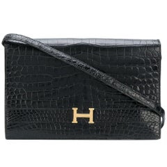 Hermes black croco clutch/handbag 1976 Excellent condition