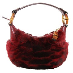 Gucci fur bamboo handbag 90s New condition