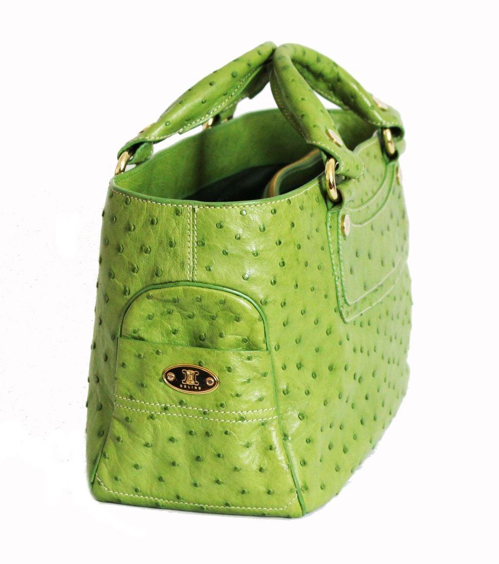 replica celine classic 2008 ladies ostrich skin green handbag