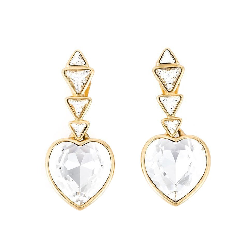 Gorgeous YSL Heart Crystal Earrings 1980 For Sale
