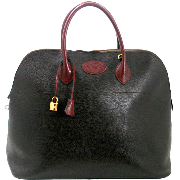 birkin bag cost how much - Herm��s 45 cm Brown Burgundy Bicolor Ardennes Bolide Bag at 1stdibs