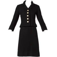 Ben Zuckerman Vintage 1950s 50s Classic Black Wool + Silk Skirt Suit