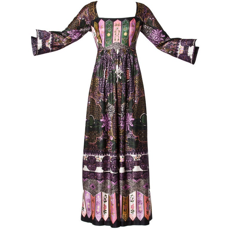 Lucie Ann of Beverly Hills Vintage 1970s 70s Maxi Dress or Dressing Gown