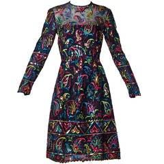 Victoria Royal Ltd Vintage 1960s 60s Silk Sequin Embroidered Dress