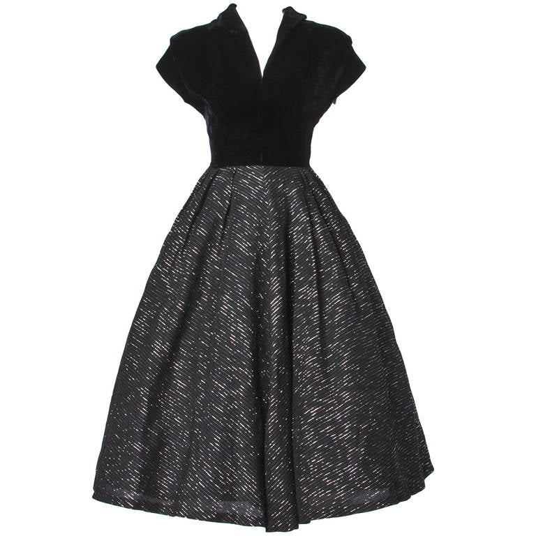 Vintage 1940s 40s Metallic Gold + Black Cocktail Dress with a Full Sweep 1