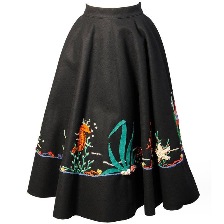 1950's Underwater World Wool Felt Appliqued Skirt