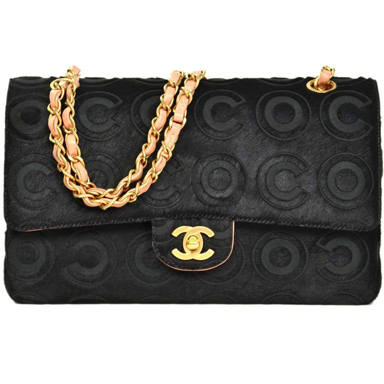Chanel Black Coco Pony Hair Double Flap 10