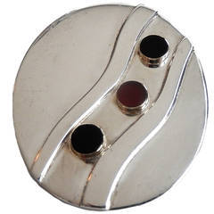 1960s Pierre Cardin Space-Age, Sterling Silver, Onyx, Carnelian and 14K Pin