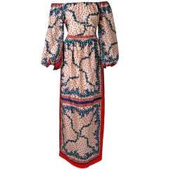 1960's Elizabeth Arden Off-Shoulder Floral Print Silk Blouse & Maxi Skirt Set