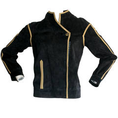 Vintage Gucci Leather Jacket Navy Blue Suede Motorcycle Moto Coat