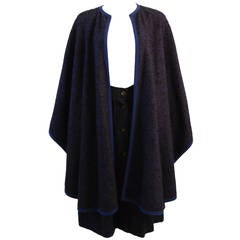 Yves St. Laurent Blue Wool Skirt and Cape Ensemble Size 40