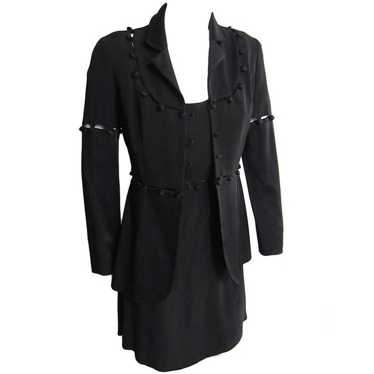 MOSCHINO Detachable Button and Loop Dress and Coat Ensemble