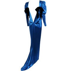 Yves Saint Laurent Numbered Haute Couture Blue Satin Evening Gown