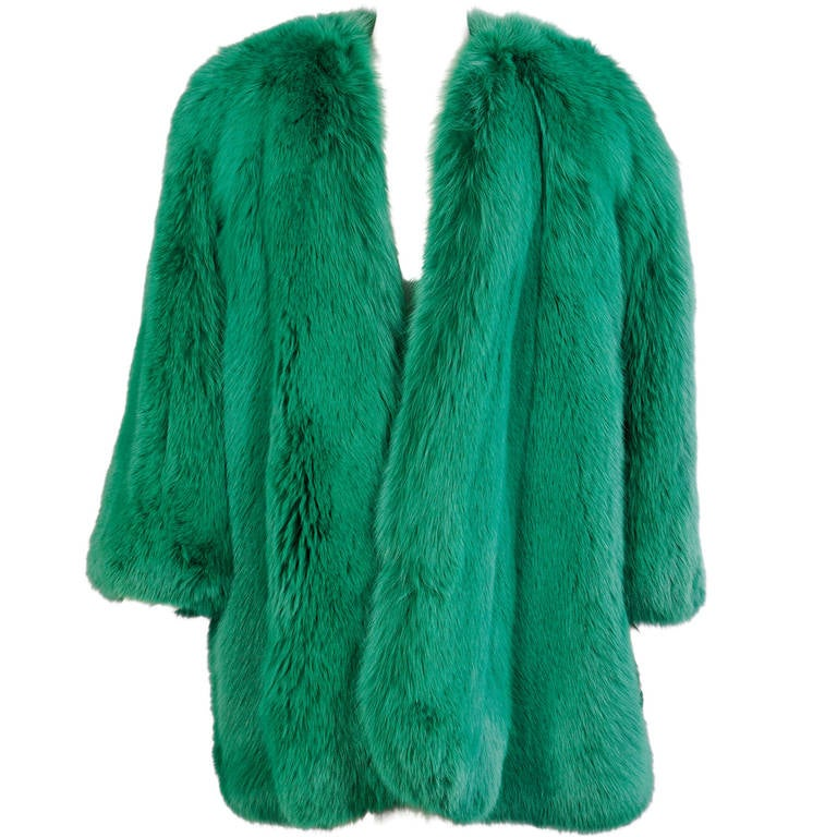 Givenchy Haute Couture Runway Worn Green Fox Jacket 1