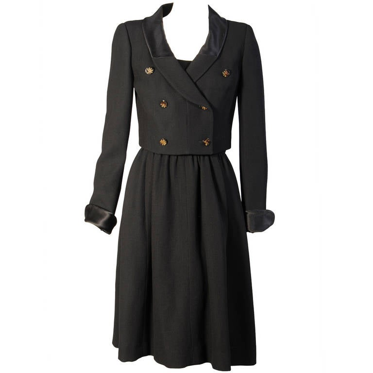 Chloe Black Wool and Silk Dress and Jacket