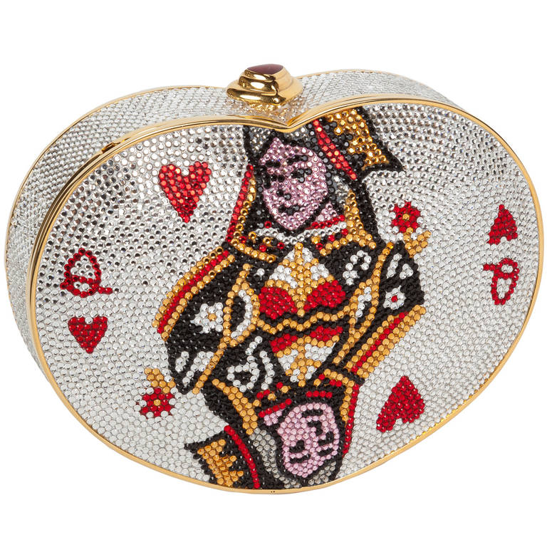 Iconic Judith Leiber Queen of Hearts Crystal Minaudière 1