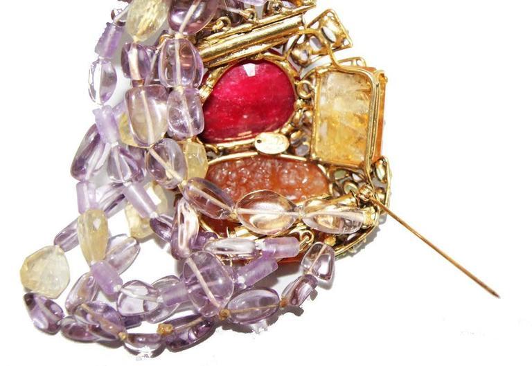 Incredible semi-precious bracelet/brooch For Sale 1