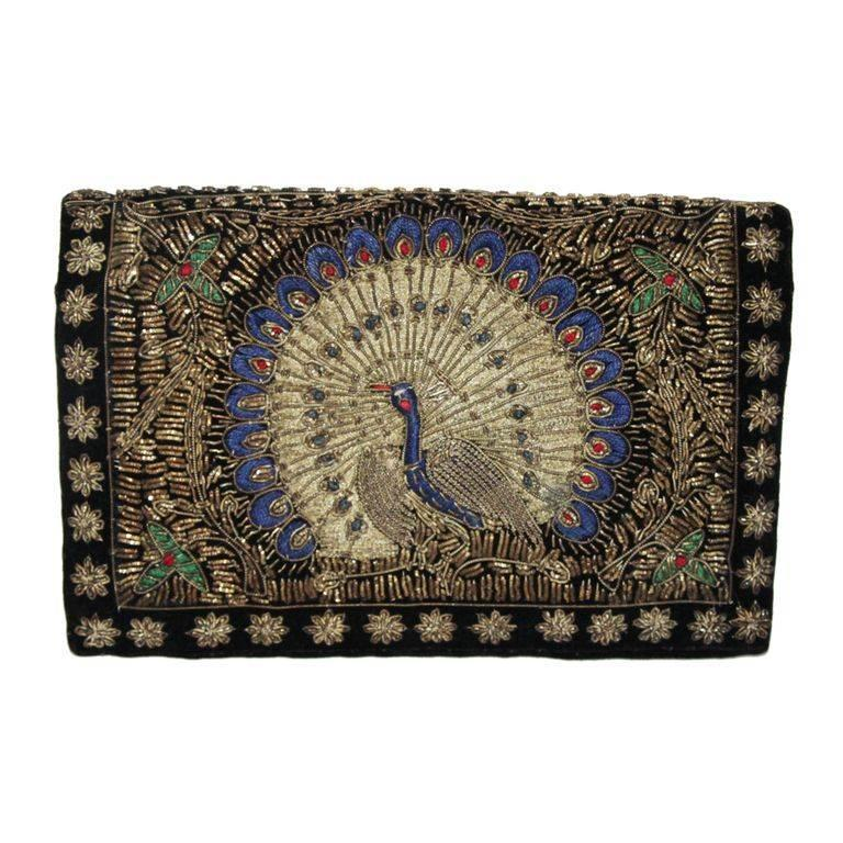 Unique & gorgeous peacock clutch of the 30 For Sale