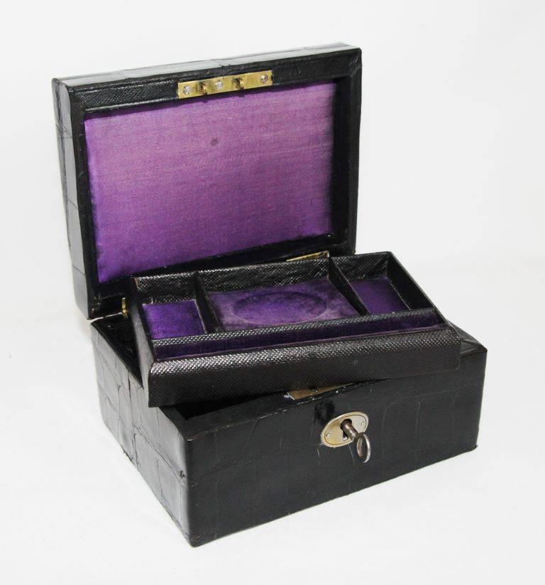 Retro Black Crocodile Jewellery Box For Sale At 1stdibs