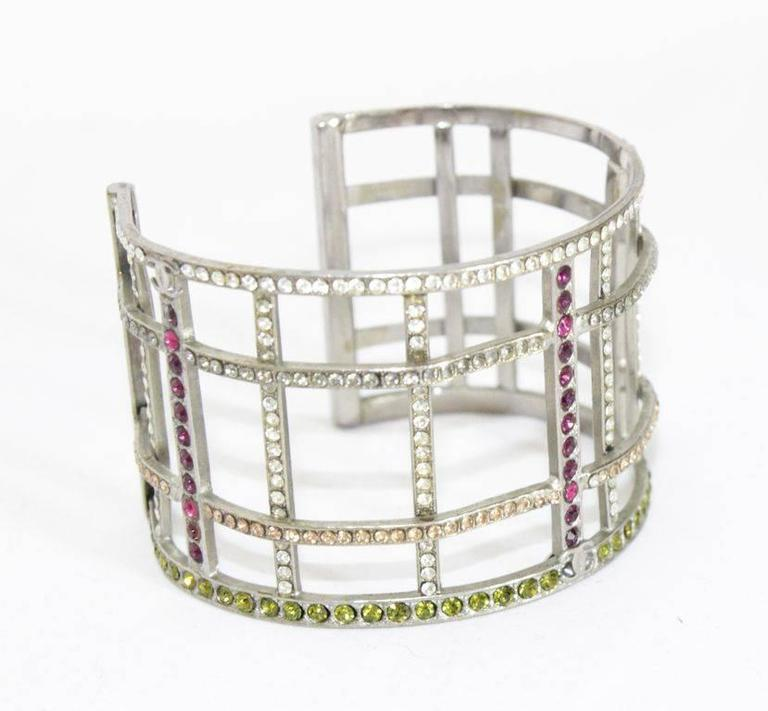 Chanel multi-colored crystal silver cuff of 1998 2