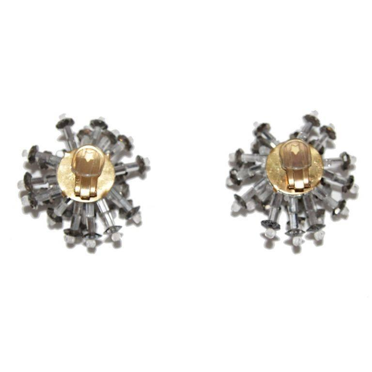 Fabulous Design Collectable Coppola E Toppo Flower Earrings Made Of Faceted Crystal Flowers