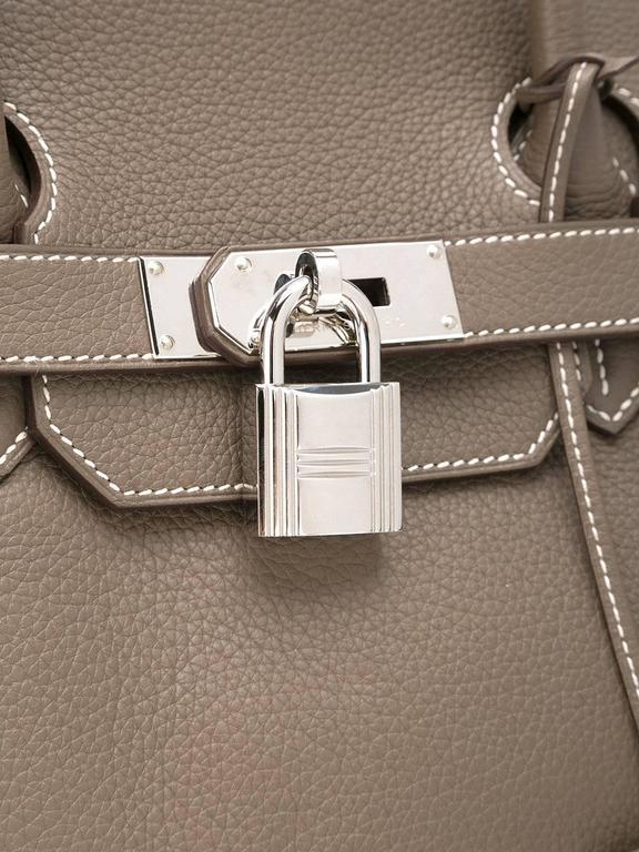 Gray Hermes shoulder Birkin etoupe togo bag NEW condition For Sale