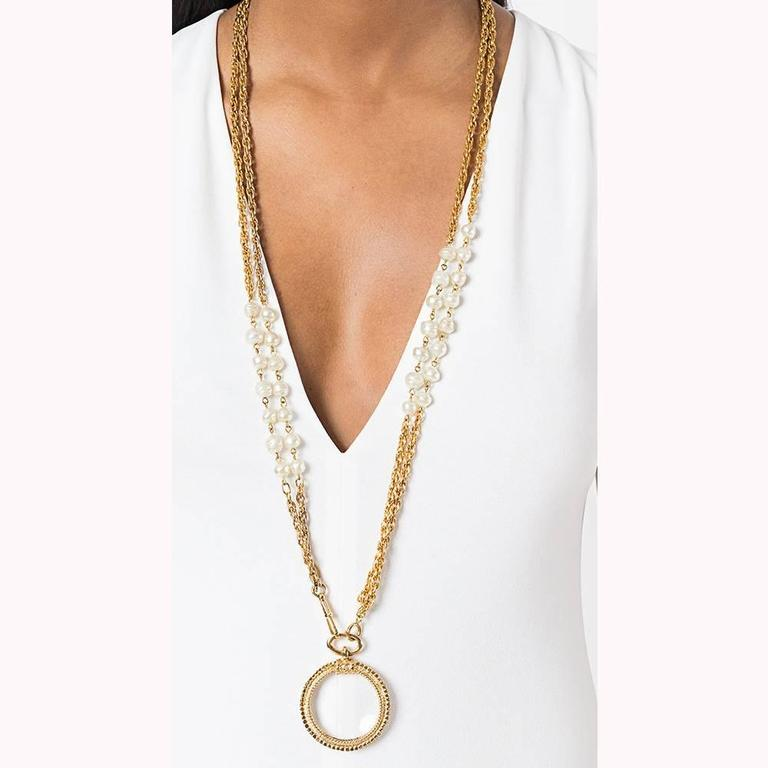 Chanel long magnifying glass baroque pearls pendant 1984 3