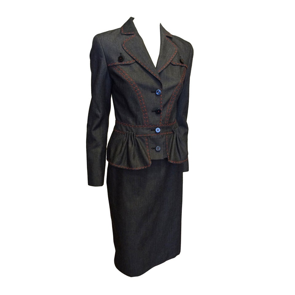 carolina herrera grey denim skirt suit at 1stdibs