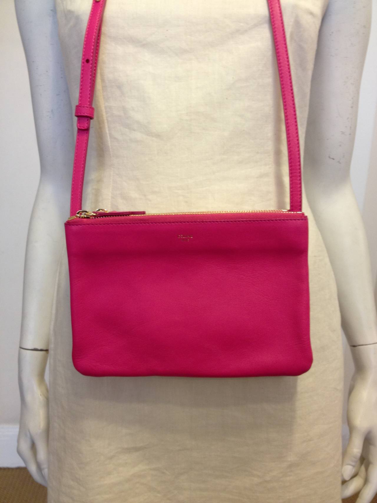 Celine Hot Pink Trio Clutch at 1stdibs