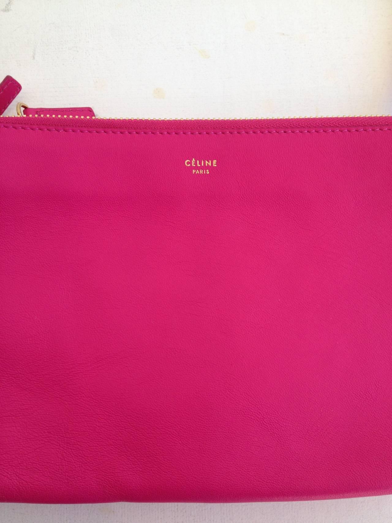 Celine Hot Pink Trio Clutch at 1stdibs