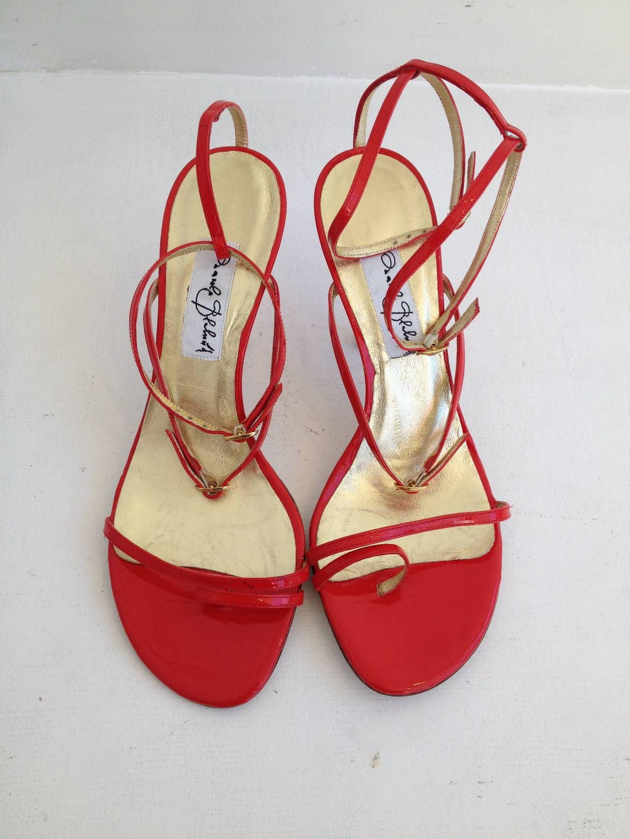 Manolo Blahnik Red Patent Leather Strappy Heels At 1stdibs