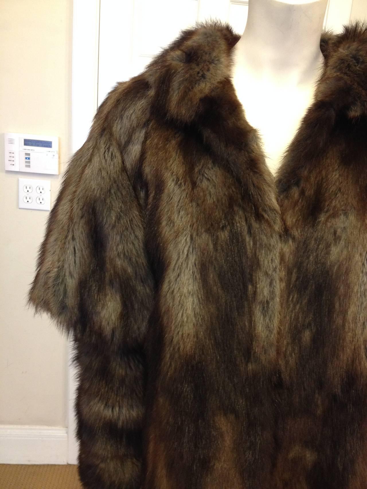 Fendi Brown Muskrat Fur Coat 2