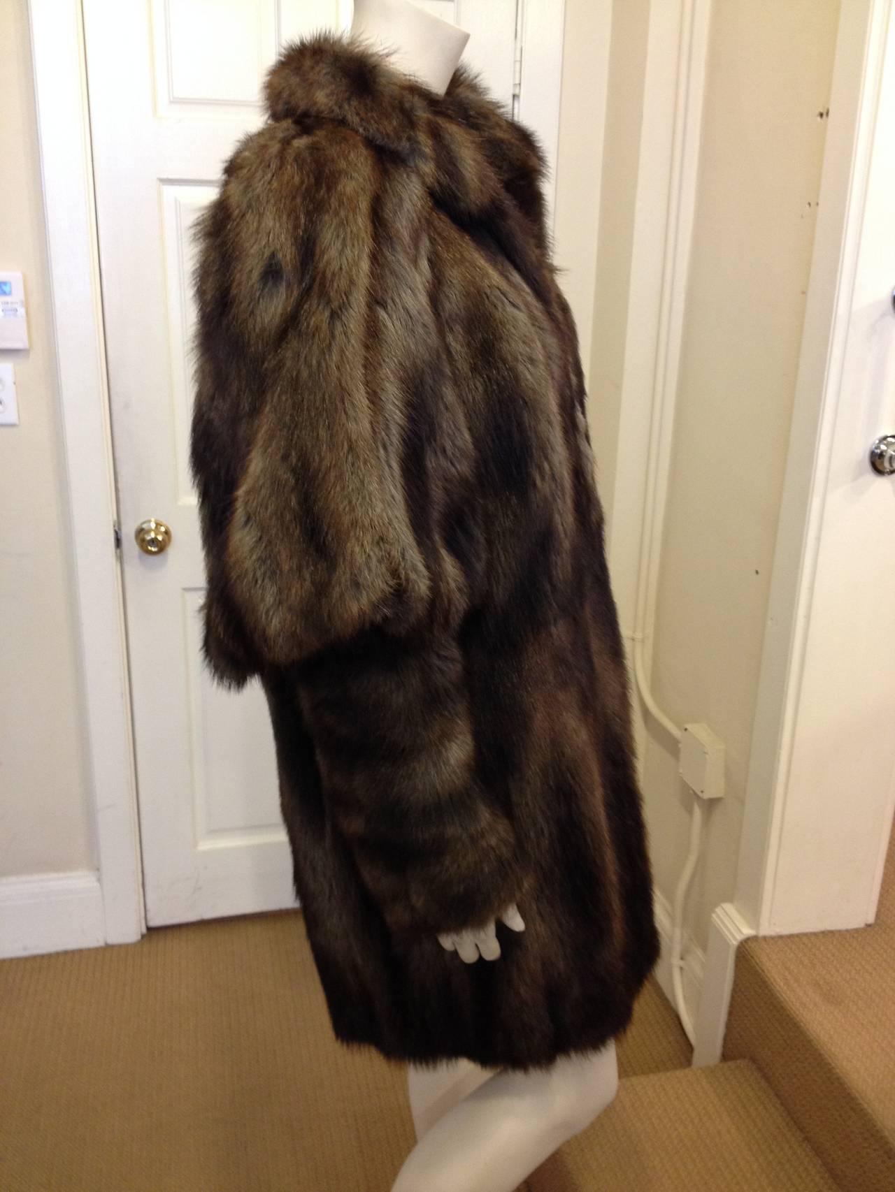 Fendi Brown Muskrat Fur Coat 3