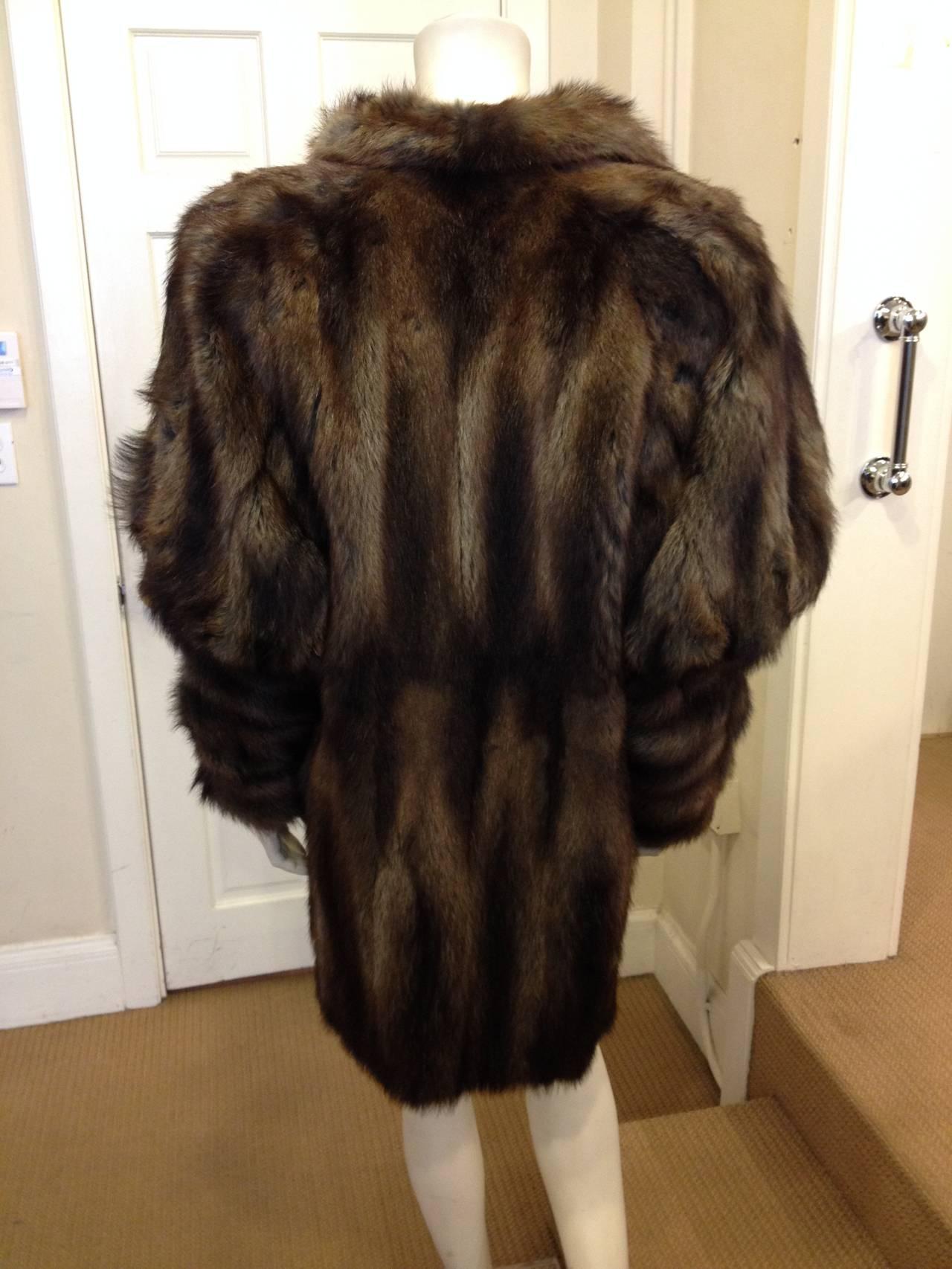 Fendi Brown Muskrat Fur Coat 4