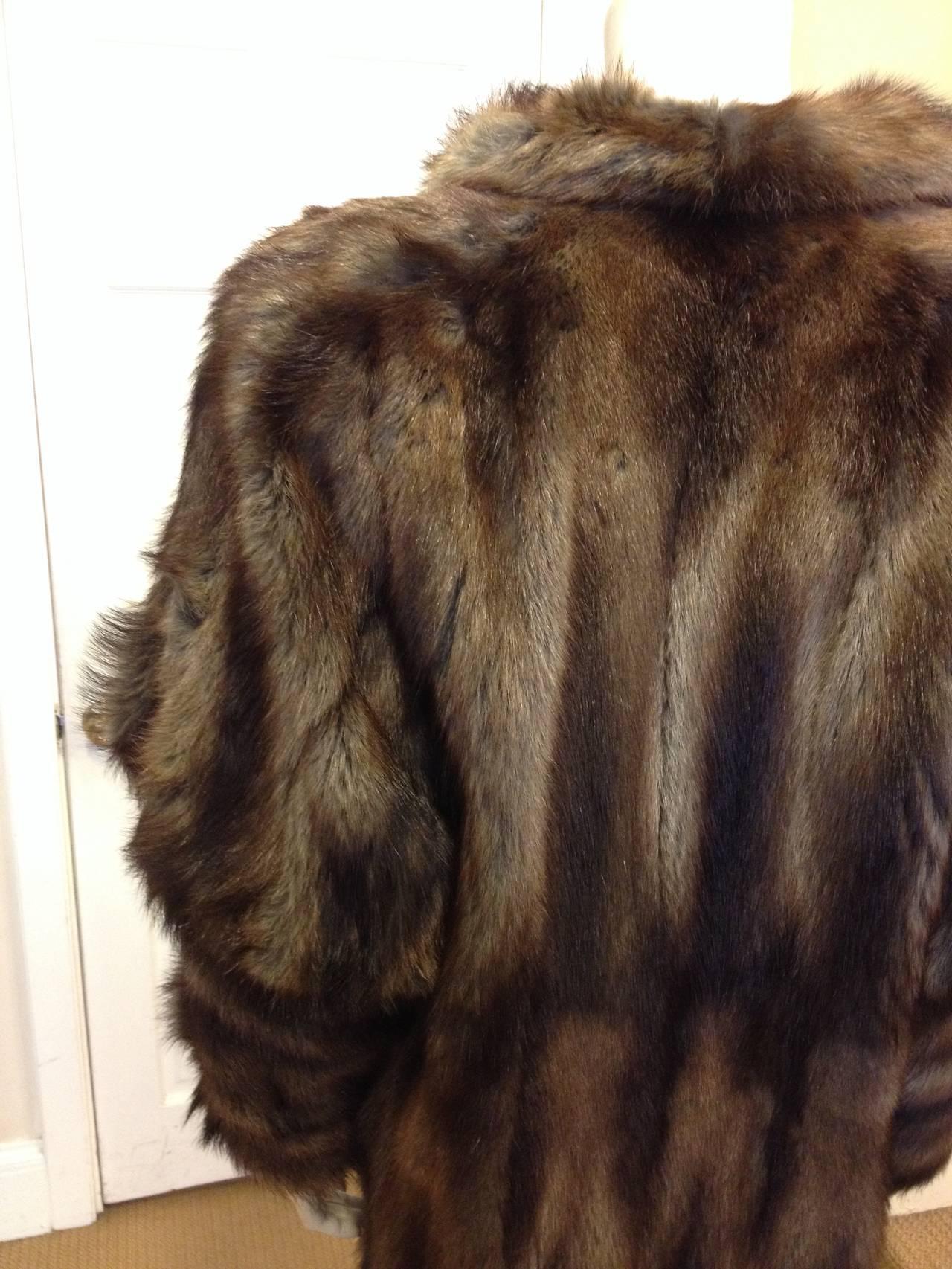 Fendi Brown Muskrat Fur Coat 5