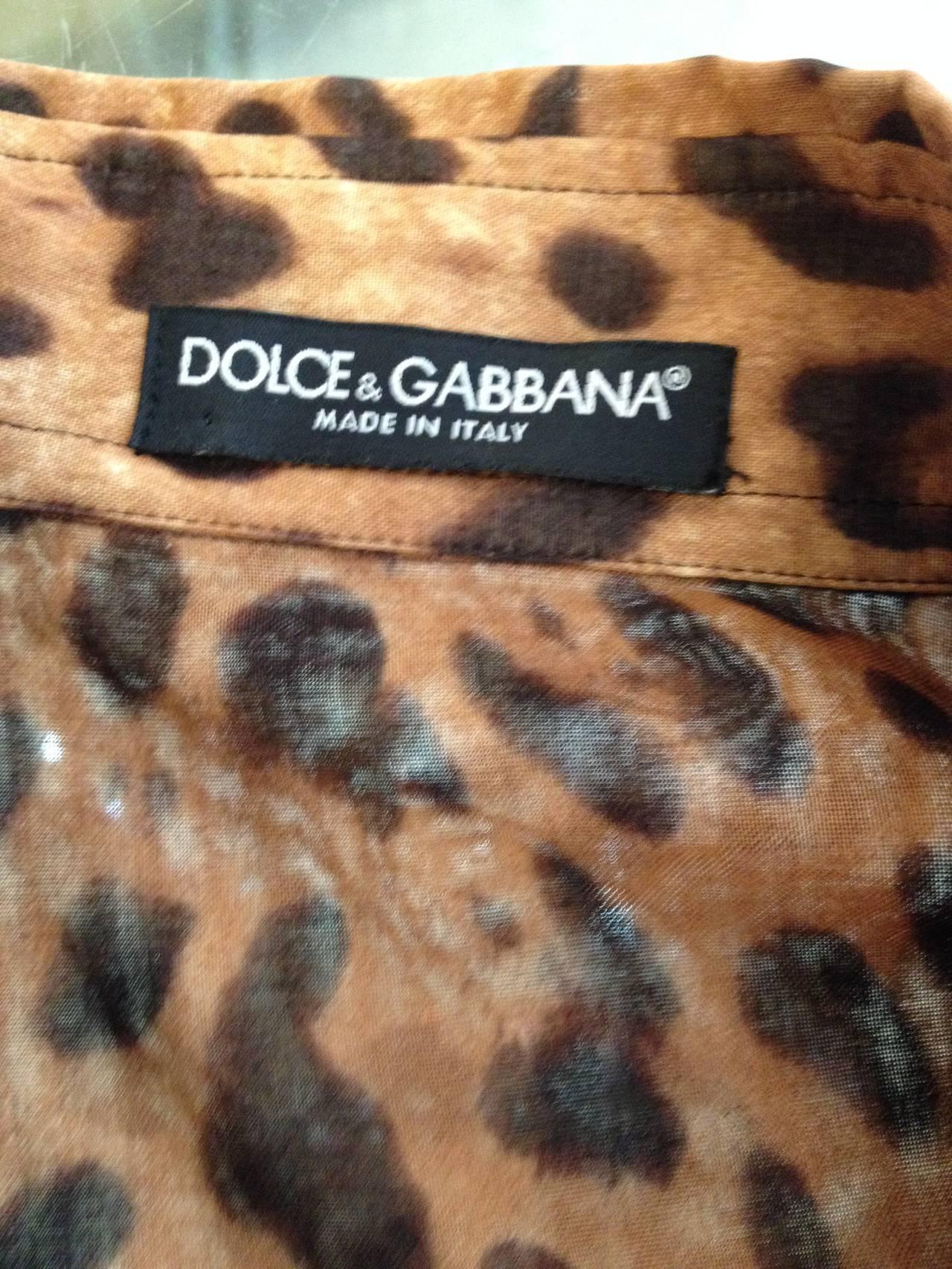 Dolce & Gabbana Tan and Brown Leopard Print Shirt 5