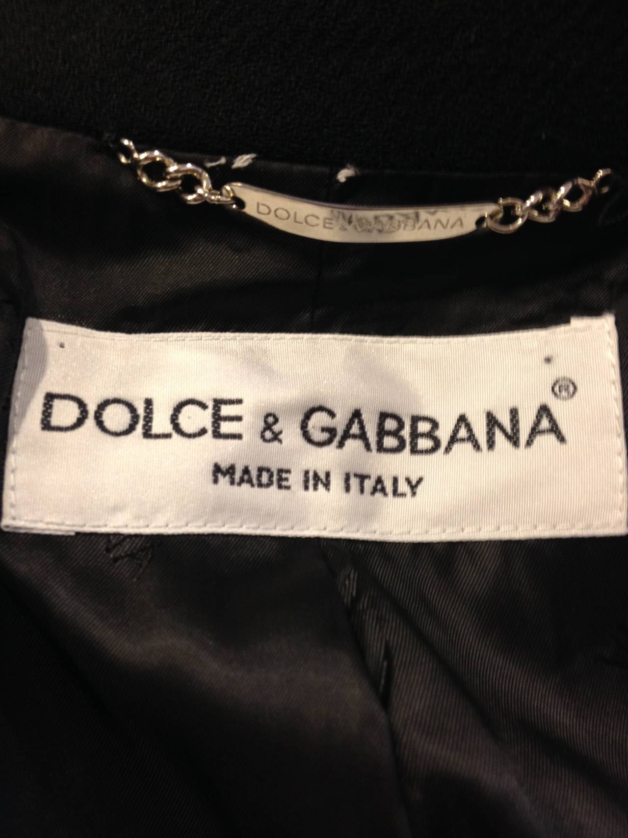 Dolce & Gabbana Black Wool Peacoat For Sale 2