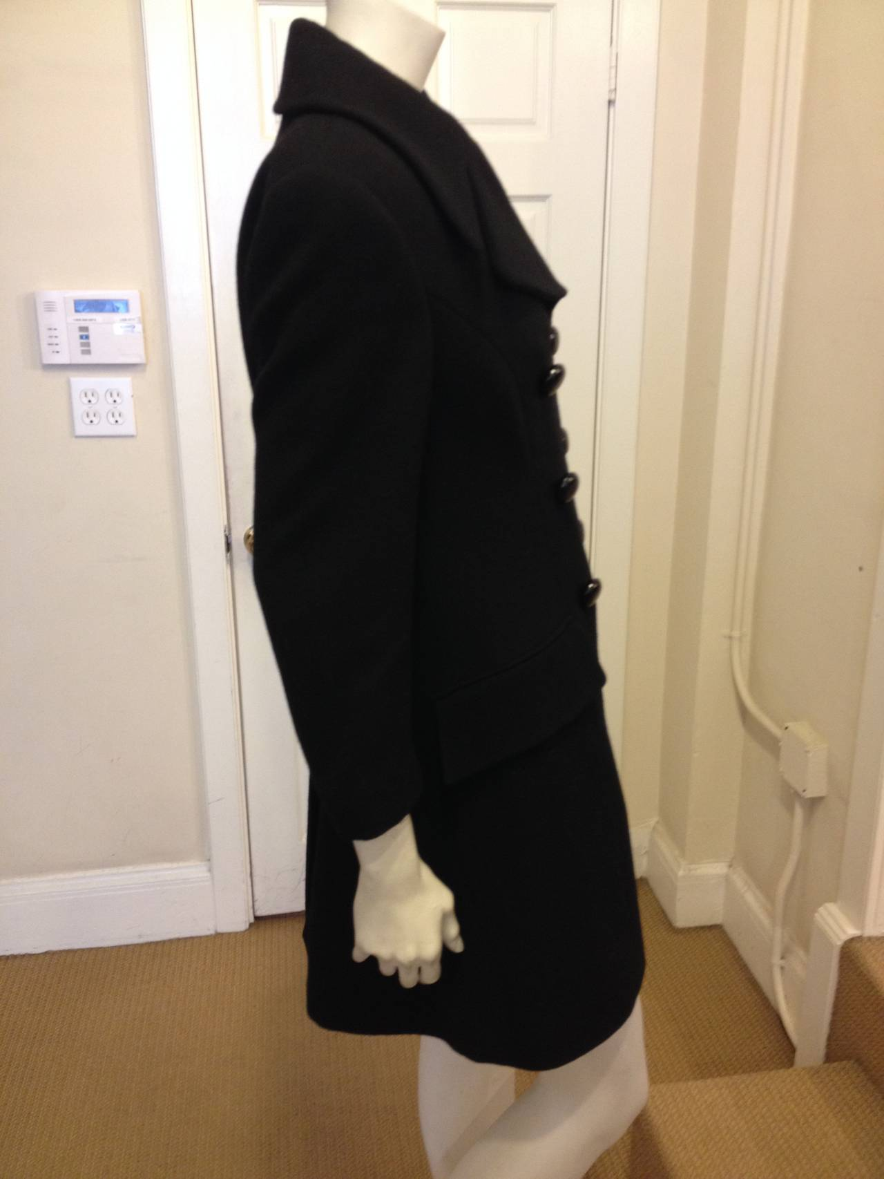 Dolce & Gabbana Black Wool Peacoat In Excellent Condition For Sale In San Francisco, CA