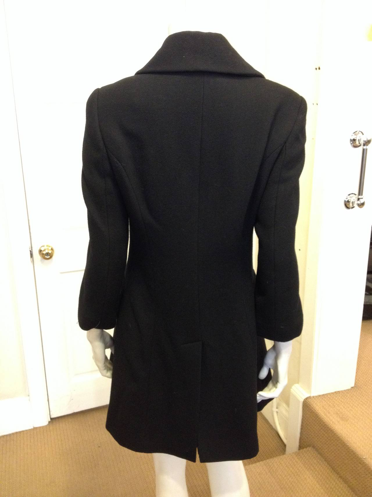 Women's Dolce & Gabbana Black Wool Peacoat For Sale