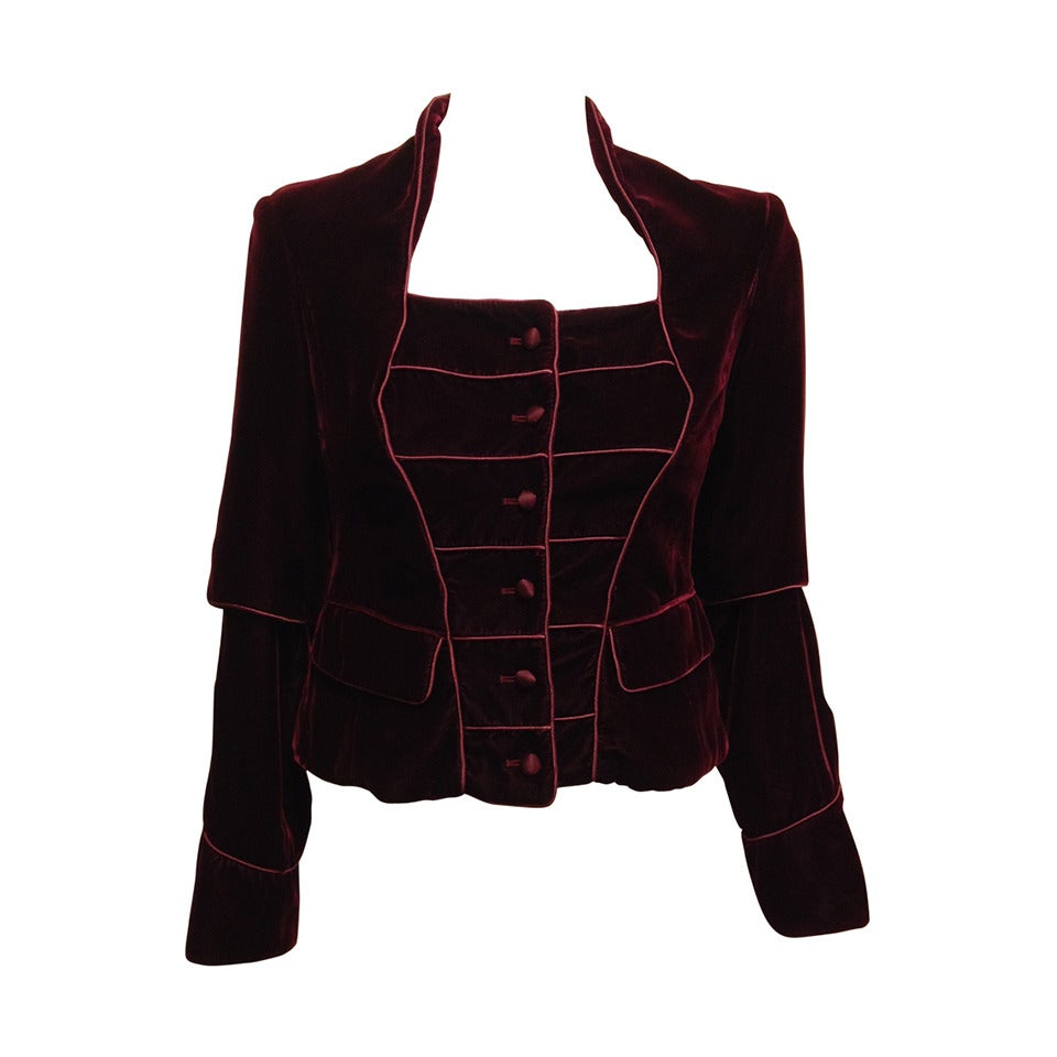 Yves Saint Laurent Wine Velvet Jacket For Sale